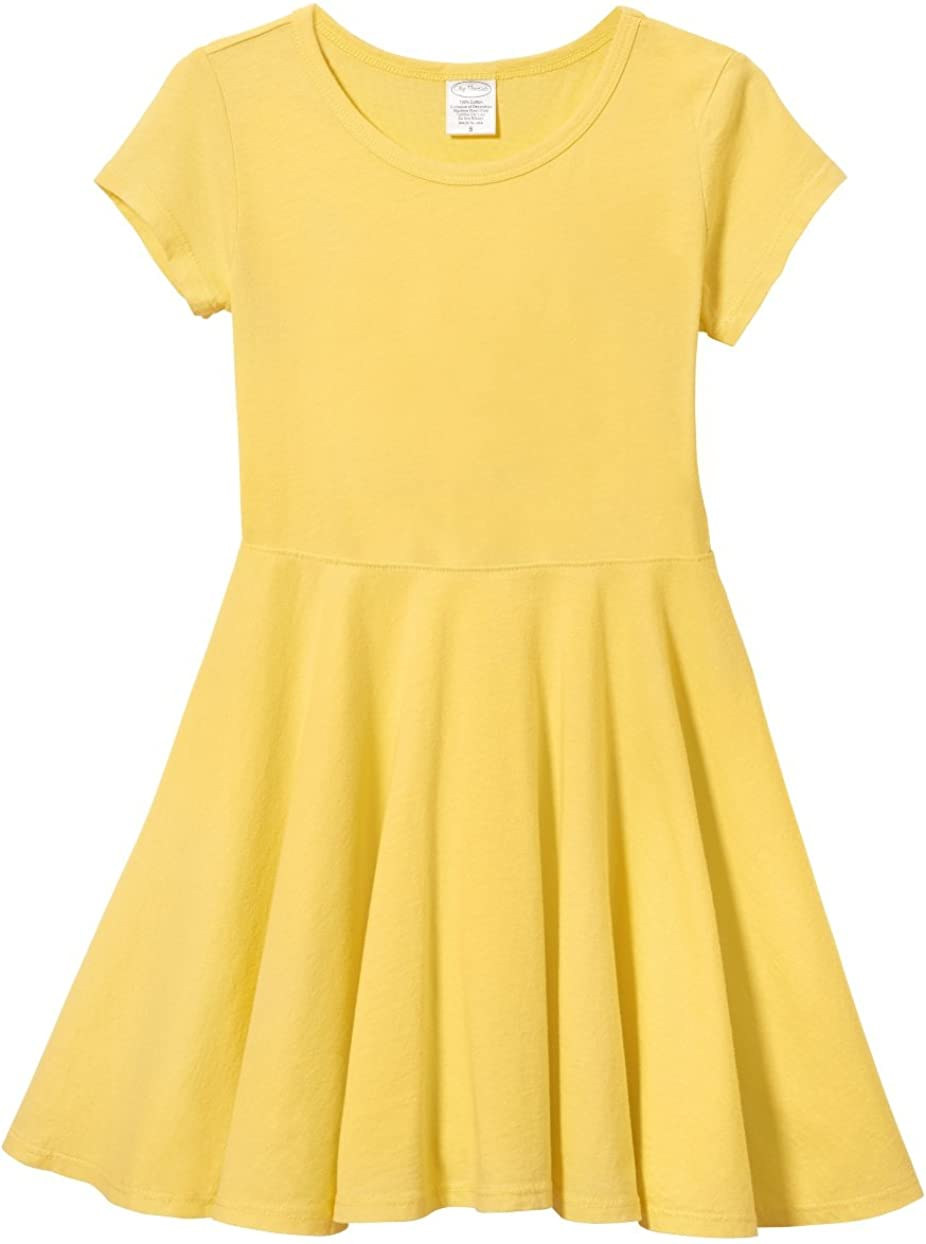 TriKalor Girls Dresses Short Sleeve Solid Color Skater Casual Twirly Dress with Pockets