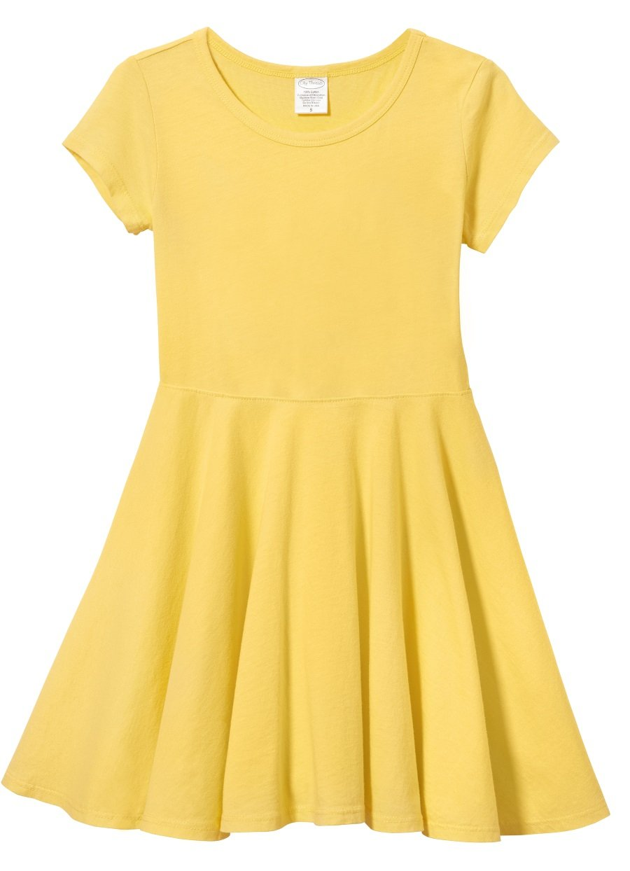 City Threads Big Girls' Short Sleeve Twirly Circle Party Dress Perfect For Sensitive Skin/SPD/Sensory Friendly For School or Play Fall/Spring, Yellow, 7