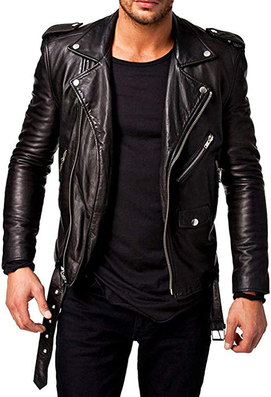 Men/'s Lambskin Leather Motorcycle Regular Stylish Slim Fit Biker Black Jacket