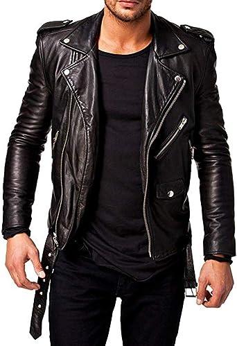 New Genuine Men/'s Lambskin Leather Jacket Motorcycle Slim Fit Biker Jacket