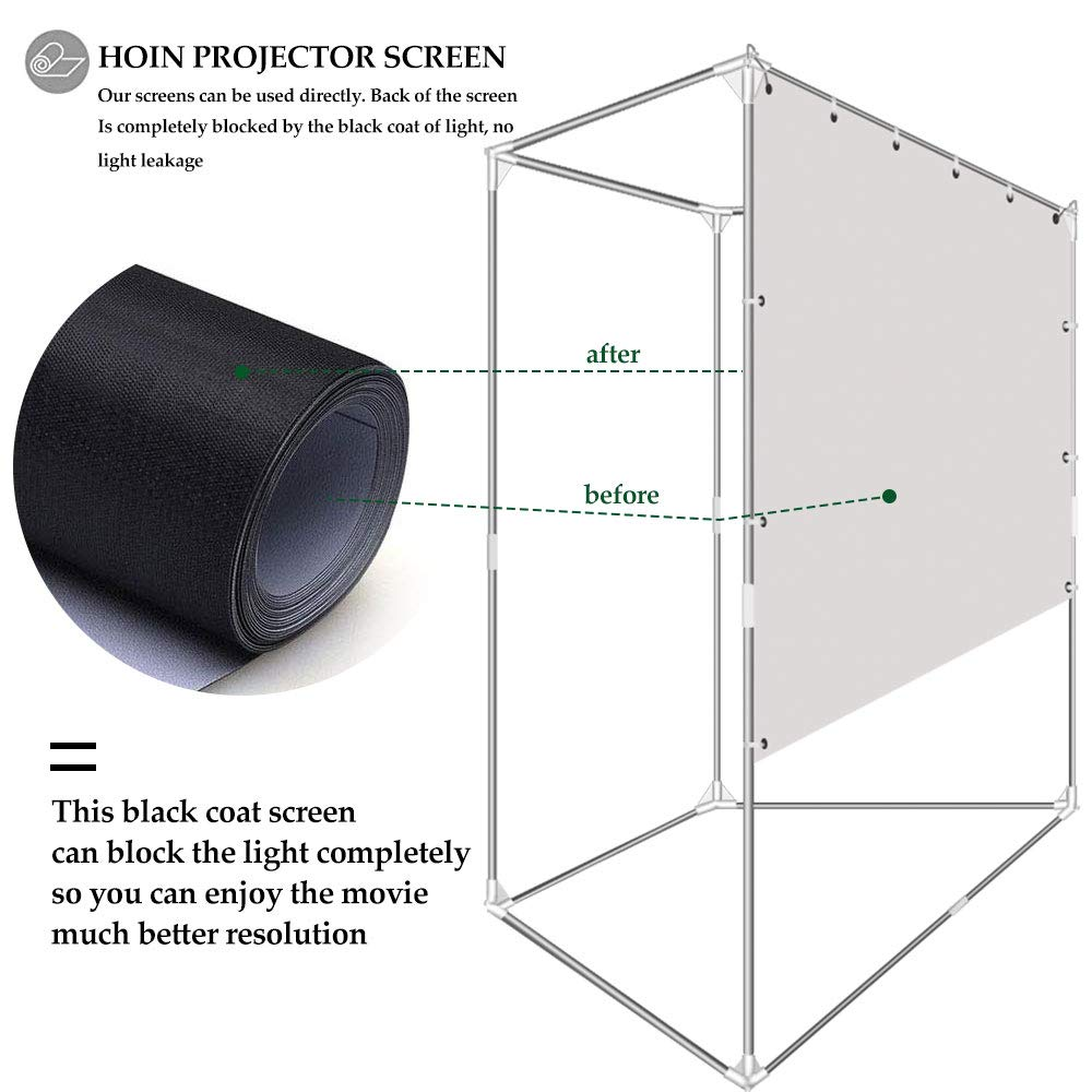 Projector Screen with Trapezoid Stand 100 inch 16:9 HD 4K 2-in-1 Outdoor Indoor Movie Projection for Camping,Recreational Events, Home Theater, Gaming Wrinkle-Free Portable Projection Screen by HOIN (Image #2)