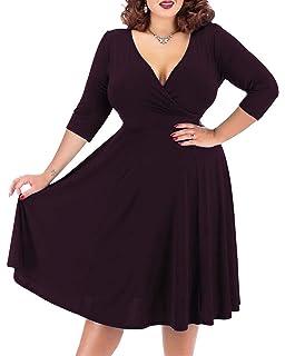 1ee6ce604eb6c Nemidor Women s V-Neckline Stretchy Casual Midi Plus Size Bridesmaid Dress