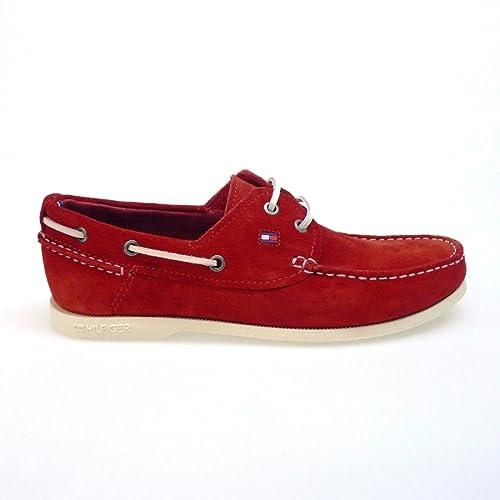 Tommy Hilfiger Zapatos Hombre Mocasines Naúticos Chino3c Rojo: Amazon.es: Zapatos y complementos