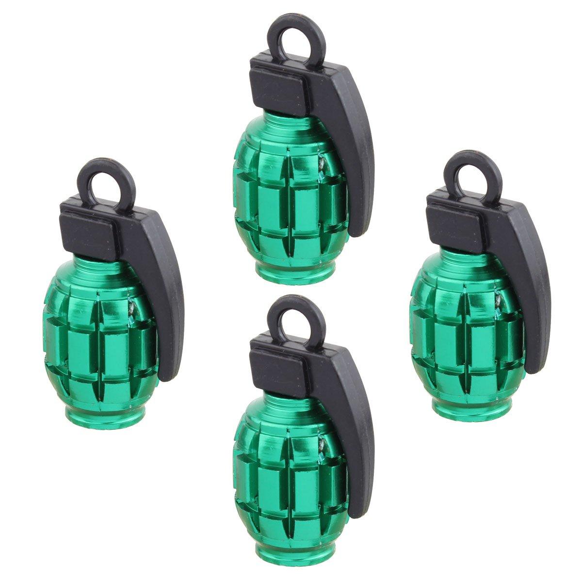 4 pezzi nero TOMALL Tappi valvola della gomma a mano stile bomba a mano per auto moto bicicletta lega di alluminio valvola aria caps