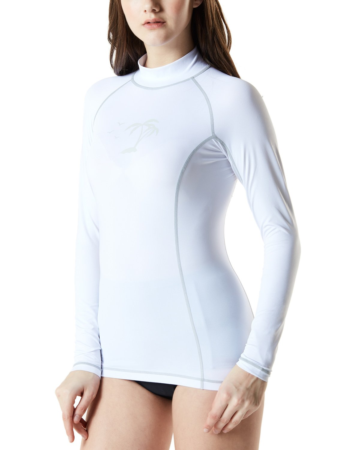 TSLA TM-FSR23-WHT_Large Women's UPF 50+ Slim-Fit Long Sleeve Athletic Rashguard FSR23