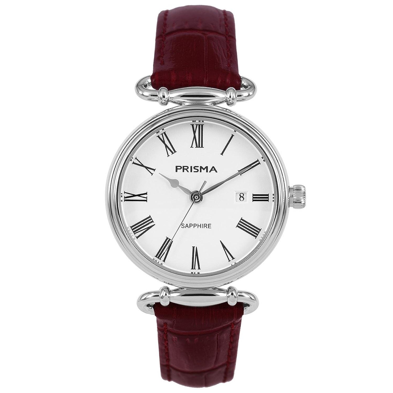 Prisma Damen Armbanduhr Vintage Style - Edelstahl silber mit Analog Quarzwerk - 5 ATM und Saphirglas P.1930
