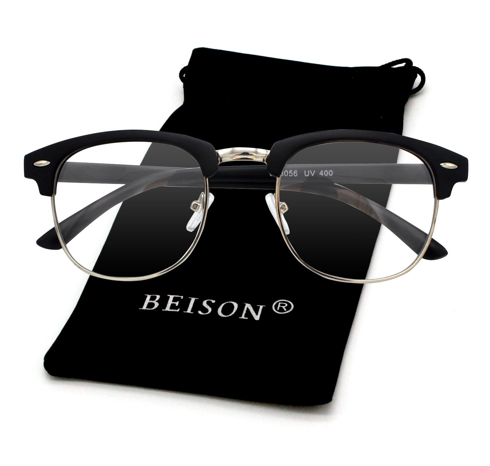 Beison Womens Mens Horned Rim Wayfarer Glasses Frame Nerd Eyeglasses (Matte black / Silver, 50mm)