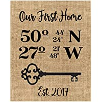 Burlap or Canvas Housewarming Gift, Our First, House Warming Gift, Latitude Longitude Sign, Address Sign GPS Coordinates, Real Estate Gift A