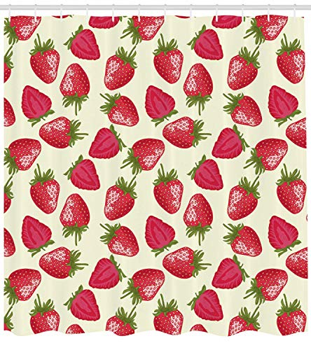 (SZZWY Strawberries Vivid Growth Plant Vitamin Organic Background Pattern Shower Curtain 3D Printing Waterproof Coated Polyester Fabric Bathroom with 12 Hooks 71 inches)