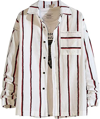 ZODOF camisa hombre camisas sport Nuevo Casual Comodo Moda A rayas Suelto Bolsillo Solapa Manga larga Camisa Tops Blusa Moda para hombre camisa lino hombre(XXXXXL,rojo): Amazon.es: Instrumentos musicales