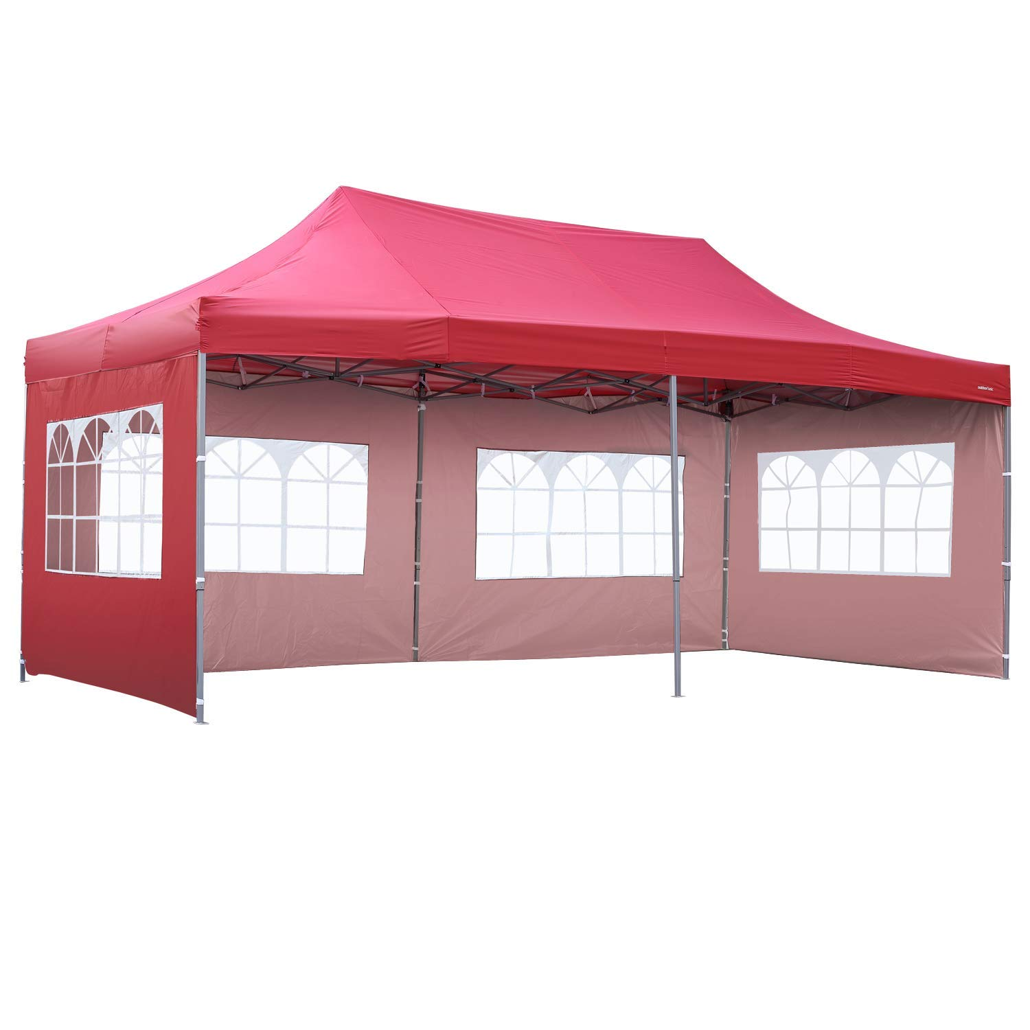 Outdoor Basic 10x20 Ft Wedding Party Canopy Tent Pop up Instant Gazebo with Removable Sidewalls and Windows (Red 4 Walls) by Outdoor Basic