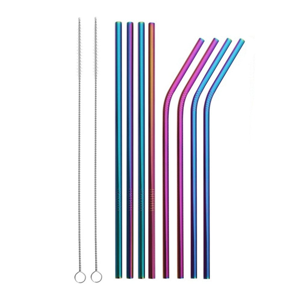 Reusable Stainless Steel Straws Set of 8 Colored Metal Straight Bent Drinking Straws with Cleaning Brush for Cups Mugs Tumblers Ramblers
