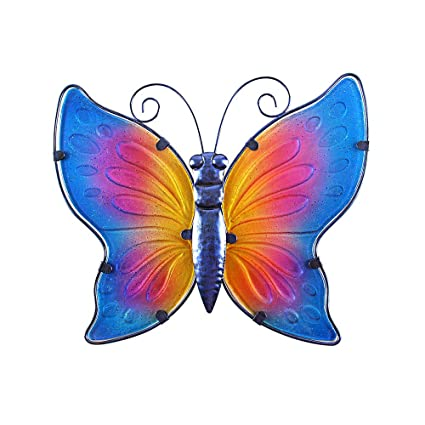 Liffy Metal Butterfly Wall Decor Outdoor Art Decorations Colorful For Living Room Bedroom