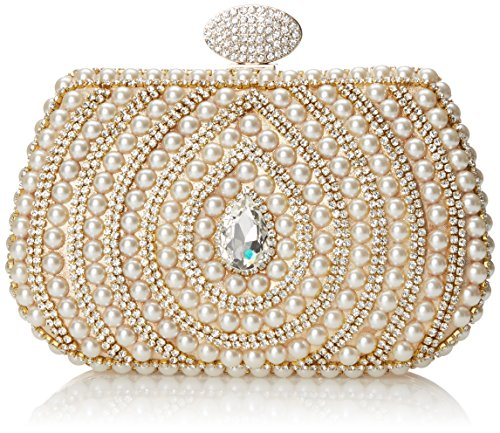 MG Collection Korina Hollywood Pearl Evening Bag Gold One Size