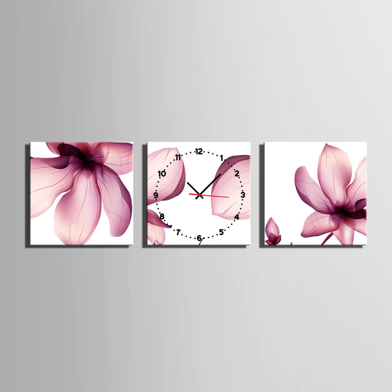 E-HOME 紫の蓮の花 時計壁時計壁掛け時計飾り時計個性掛け時計 (40x40cm*3pcs) B073J8VX6B40x40cm*3pcs