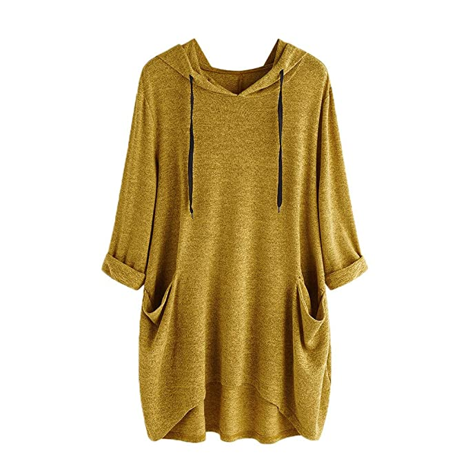 Linlink Mujeres Casual sólido Mangas largas Bolsillos Laterales con Capucha Irregular Blusa Superior Camisas