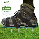 Punchau Lawn Aerator Shoes wMetal Buckles and 3 Straps - Heavy Duty Spiked Sandals for Aerating Your Lawn or Yard