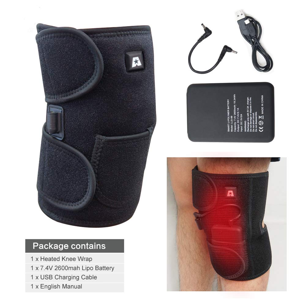 b2cb1ea28d Heated Knee Brace Wrap Support/Therapeutic Electric Heating Pad  W/Rechargable 7.4V 2600Mah Battery for Joint Pain, Arthritis Meniscus Pain  Relief (3 ...