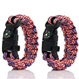 PSKOOK Paracord Survival Bracelet With Elastic Shock Rope Campass Whistle Fire Starters Wildness Tactical Emergency Gear Kit(Freedom)