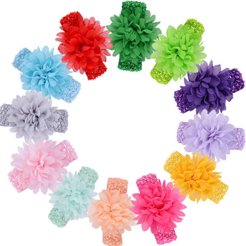 iSuper Bandeau Bébé fleurs bandeau de bande pour le cheveux de bébé douce style Lindo cadeaux pour nouveau-nés et filles (Multicolore/10pcs)