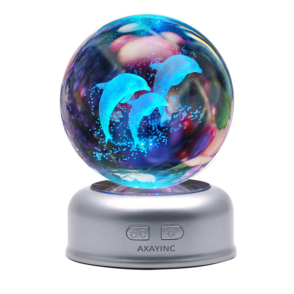 AXAYINC 3D Crystal Ball Night Light with Stand 7 Colors Change for Kids Baby Bedroom Decor Birthday Gift(Dolphin)