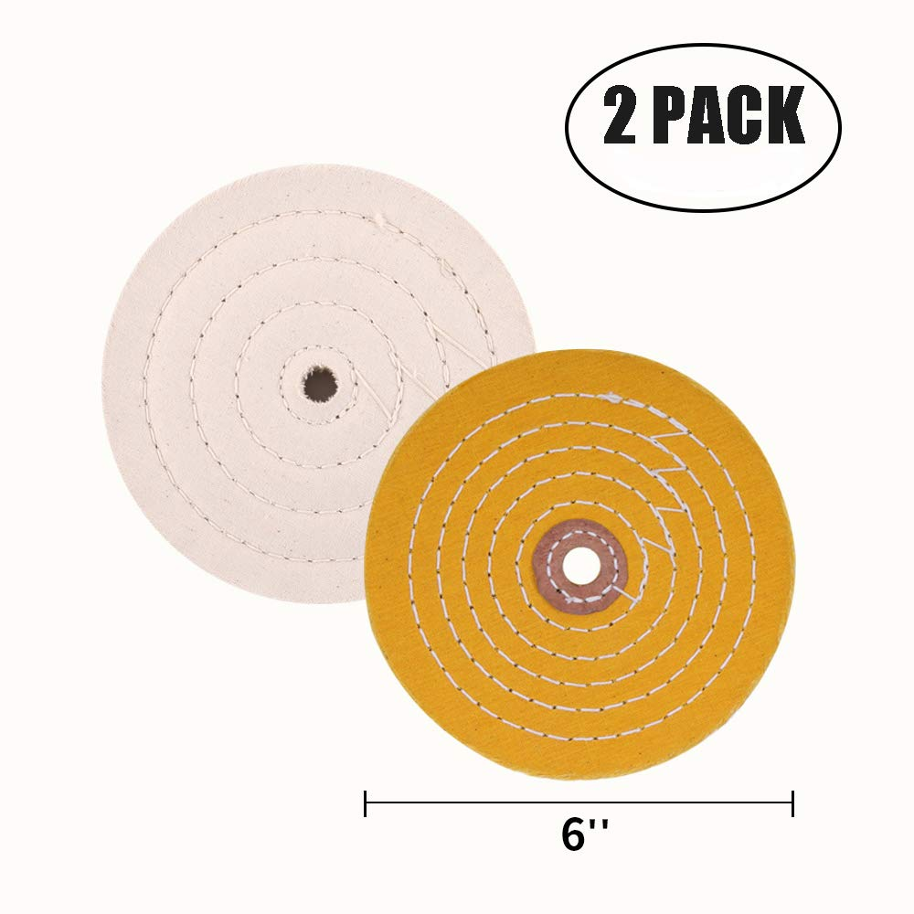 Polishing Wheel for Bench Grinder Buffing Wheel 6 inch White (60 Ply) & Yellow (42 Ply) for Buffer Polisher with 1/2 Inch Arbor Hole 2 PCS