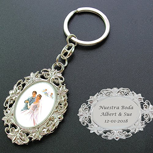 Personalized Wedding Keychain Party Favor (12 PCS) Engraved Metal Key Ring / Customized Gift for Guest]()