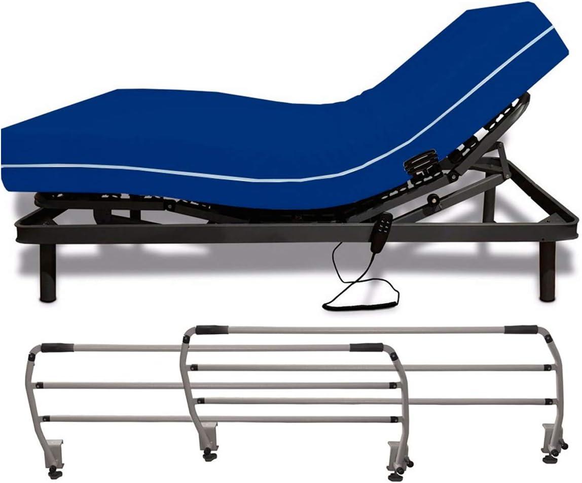 Duérmete Online - Cama Eléctrica Articulada Reforzada 5 Planos + Colchón Sanitario + Barandillas 90 x 190