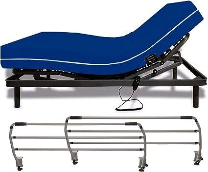 Duérmete Online - Cama Eléctrica Articulada Reforzada 5 Planos + Colchón Sanitario + Barandillas 90 x 200