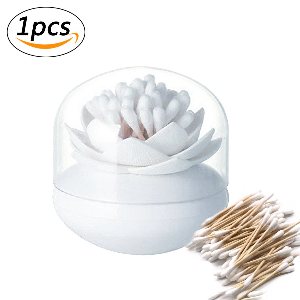 Lotus Flowers Cotton Swab Holder, Small Q-Tips Toothpicks Storage Organizer,Bathroom Vanity Canister,Dustproof Holder Home Decor (White) Yakuro