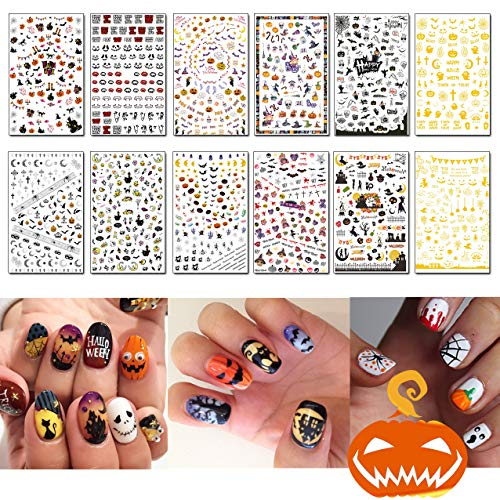 Halloween Bats Stencils (TailaiMei 1500 Pcs Halloween Nail Decals Stickers, 12 Sheets Self-adhesive DIY Nail Art Tips Stencil for Halloween Party, Include Pumpkin/Bat/Ghost/Witch)