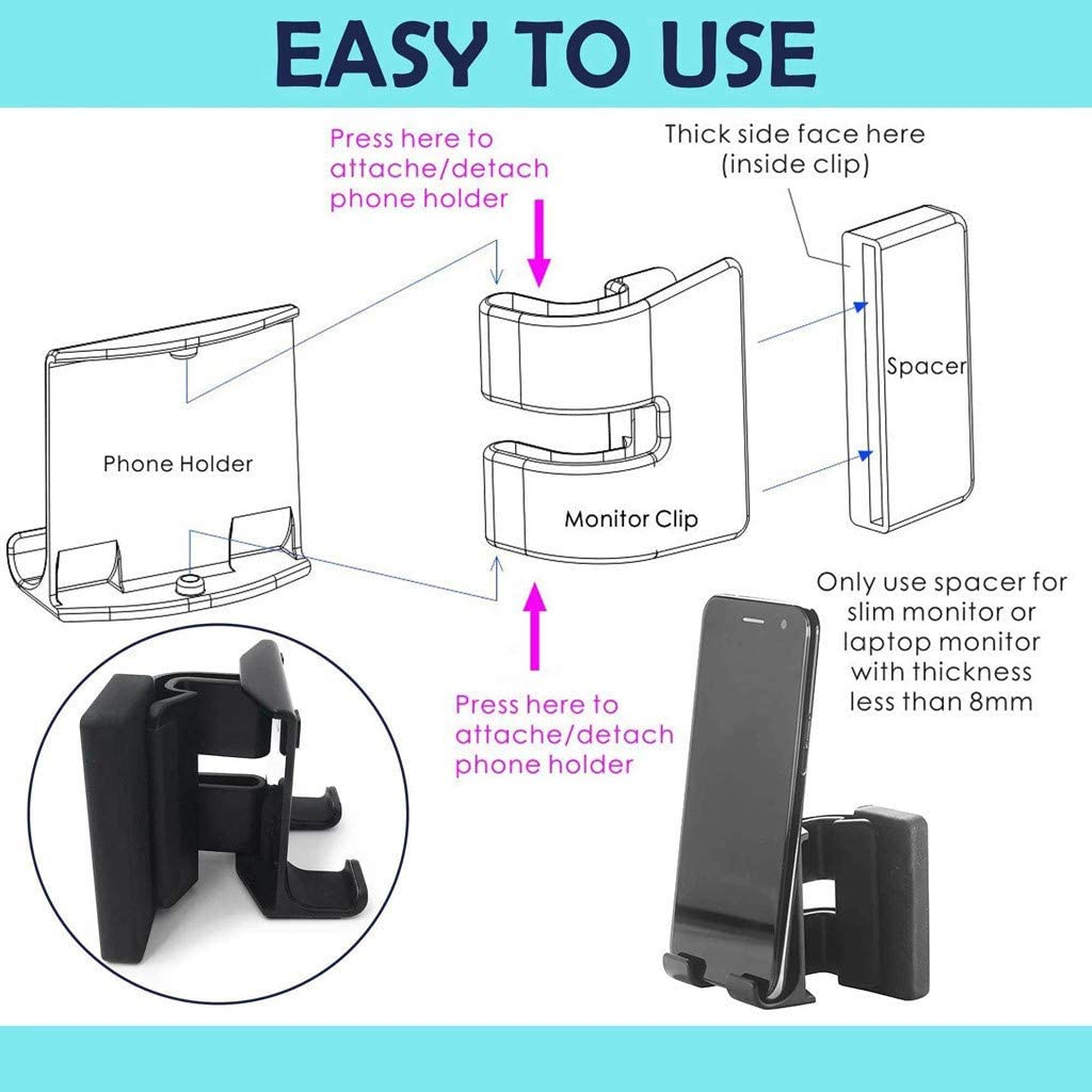Barcley Notebook Screen Side Phone Holder Cell Phone Mounts Black Cell Phone Stand Smart Phone Dock Mobile Mounts Phone Clip for Universal Computer Display