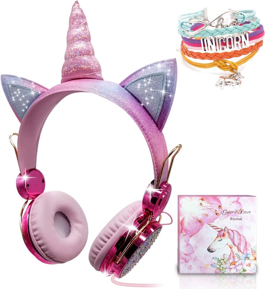 Unicorn Kids Headphones for Girls Children Teens, Wired Headphones with Adjustable Headband, 3.5mm Jack and Tangle-Free Cord, Over On Ear Headset w/Mic for School Birthday Xmas Unicorn Gift (Wired)