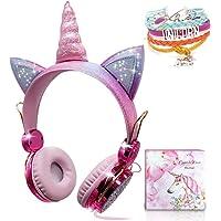 Unicorn Kids Headphones for Girls Children Teens, Wired Headphones with Adjustable Headband, 3.5mm Jack and Tangle-Free…