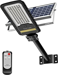 Solar Street Lights Outdoor Lamp, LED Security Flood Light 80W Dusk to Dawn IP67 Waterproof Light 1500LM with Remote Control for Yard, Street, Basketball Court, Parking Lot, Stadium (Bright White)
