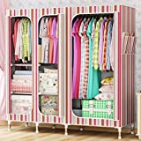 GL&G Wardrobe Closet Portable Oxford cloth Free Standing Storage Organizer Home finishing – Portable, Detachable, and Steel Pipe assembly Lightweight Clothing Closet ,A,65''67''
