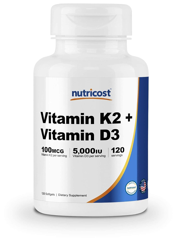 Nutricost Vitamin K2 (100mcg) + Vitamin D3 (5000 IU) 120 Softgels - Gluten Free and Non-GMO