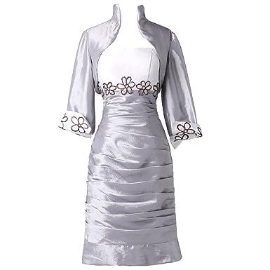 0739828a526 JOYNO BRIDE Silver Taffeta Short Sleeve Mother Of The Bride Dress With  Jacket (2