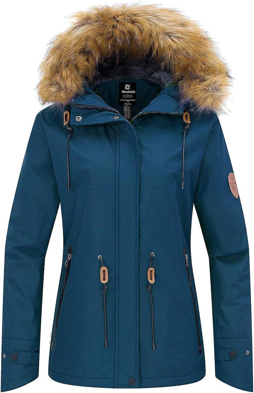 Wantdo Women's Waterproof Ski Jacket Hooded Snow Coat Mountain Fleece Parka