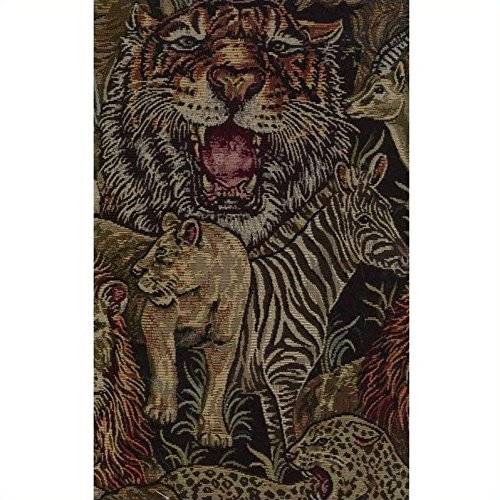 Animal Futon Covers Print - Blazing Needles Tapestry Full Size Futon Cover in Safari-9