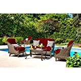 Hanover Outdoor Ventura 4-Piece Patio Set, Crimson Red