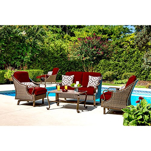 Hanover Ventura 4-Piece Seating Set Outdoor Furniture Crimson Red / Poppy Red VENTURA4PC-RED