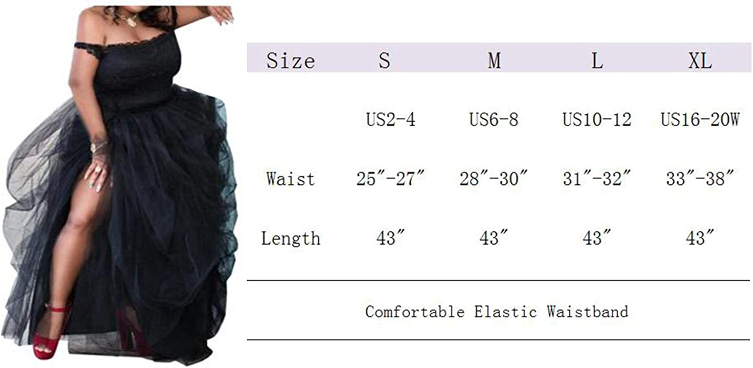 ASSN Womens Long Black High Low Split Tulle Skirt for Night Out Party