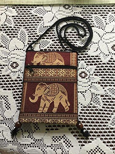 Hill Tribal Holder Cellphone Mini Shoulder Pouch Burgundy Travel Passport Bag BTP Cp10 Case Single Elephant Hmong Bag Crossbody qOwXtRE