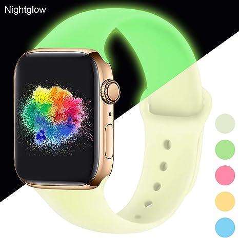 Imagen deYoumaofa Correa Compatible con Apple Watch 38mm 40mm, Correa de Silicona Repuesto Pulsera Deportivas para iWatch Series 5 Series 4 Series 3 Series 2 Series 1, 38mm/40mm S/M Nightglow Green