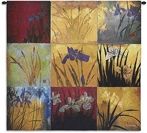 - Iris Nine Patch Ii by Don Li-Leger | Woven Tapestry Wall Art Hanging | Contemporary Irises Golds Asian Fusion Abstract Watercolor Themed Artwork | 100% Cotton USA