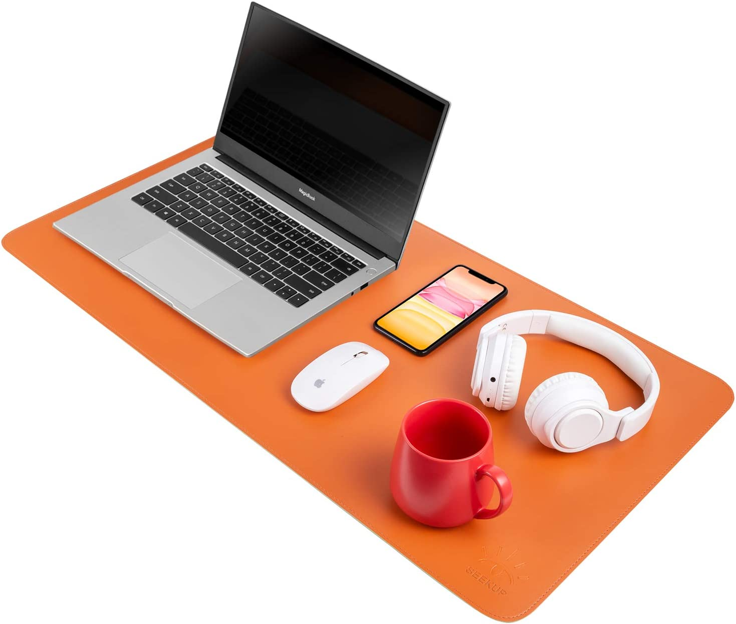 "Orange/Green Dual Sided PU Leather Desk Pad, Upgrade Sewing Office Laptop Mat, Waterproof Large Mouse Pad, Non-Slip Writing Mat Desk Blotter Protector for Office/Home, 31.5""x15.7"""