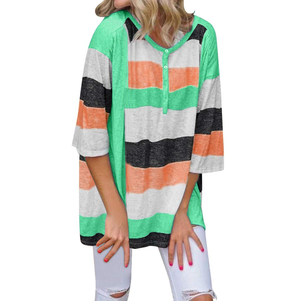 Sayhi Women Fashion Multicolor Striped Top O-Neck Button Down Blouses Tops Loose Autumn Girls Pullover Shirt (Green,M) by Sayhi