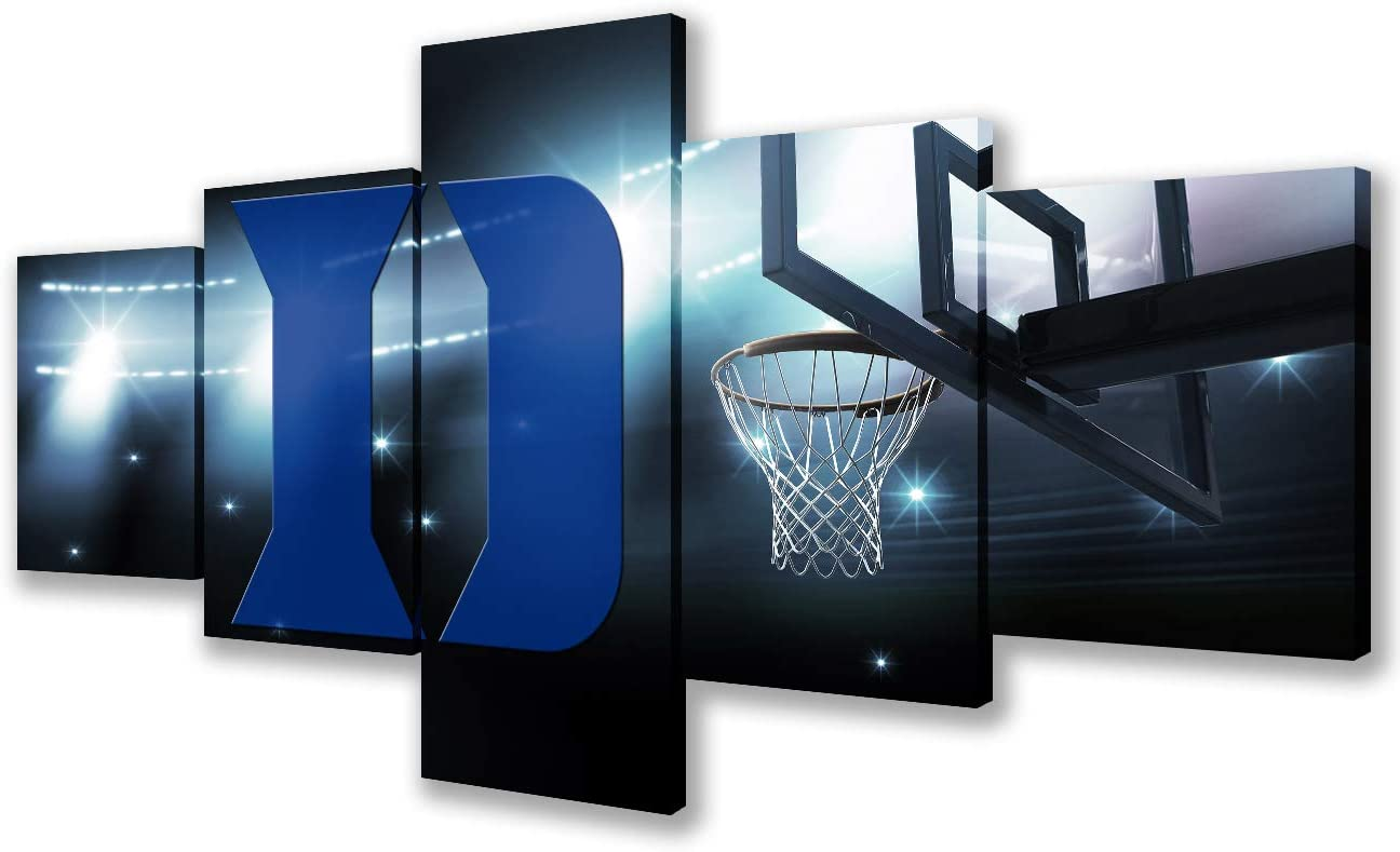 Wall Pictures for Living Room Basketball Stadium of Athletic Teams Paintings for NCAA 5 Pcs Canvas Duke Basketball Modern Artwork Home Decor Gallery-Wrapped Giclee Framed Ready to Hang(50''Wx24''H)