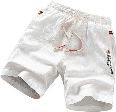 MXJEEIO Pantalones Cortos Bañador Hombre Color sólido Lino de ...